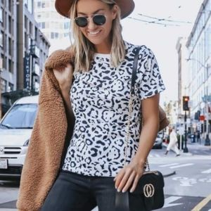 SALE! New Cool White Leopard Print Casual Top